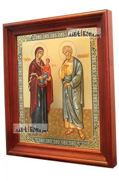 Иоаким и Анна, аналойная икона в темном киоте - вид сбоку