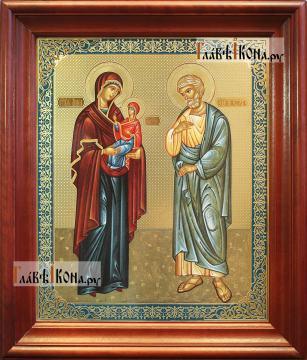 Иоаким и Анна, аналойная икона в темном киоте