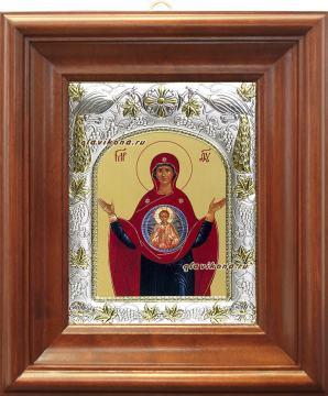 "Божия Матерь ""Знамение"", икона в ризе, артикул 41296 - вид в киоте"