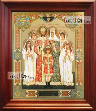 Царская семья, большая аналойная икона в деревянном киоте