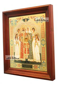 Царская семья, большая аналойная икона в деревянном киоте - вид сбоку