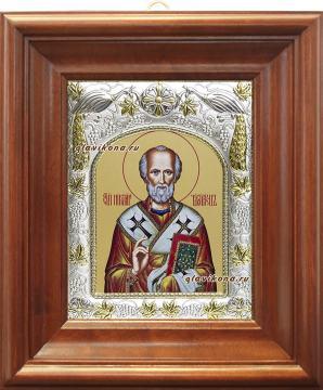 Николай Чудотворец, икона в ризе, артикул 41716 - вид в киоте