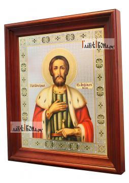 Александр Невский, большая аналойная икона в деревянном киоте - вид сбоку