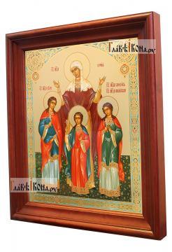 Вера, Надежда, Любовь, Софья - аналойная икона в деревянном киоте - вид сбоку