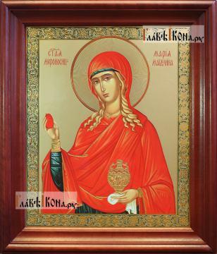 Мария Магдалина, большая аналойная икона в деревянном киоте