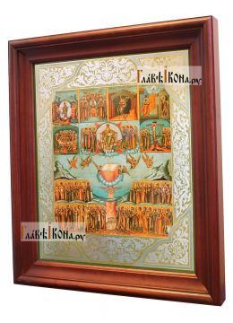 Шестоднев, большая аналойная икона в деревянном киоте - вид сбоку
