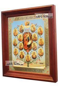 Древо Богородицы, большая аналойная икона в деревянном киоте - вид сбоку