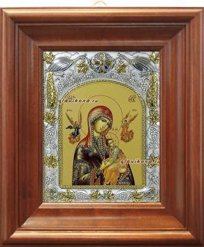 """Божия Матерь """"Страстная"""", икона в ризе, артикул 41308 - вид в киоте"""