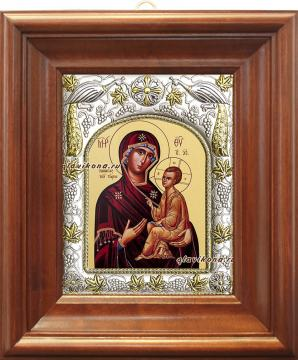 """Божия Матерь """"Тихвинская"""", икона в ризе, артикул 41239 - вид в киоте"""