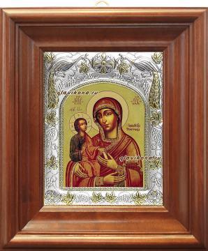 "Божия Матерь ""Троеручица"", икона в ризе, артикул 41246 - вид в киоте"