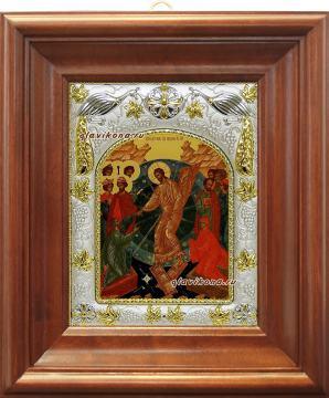 Воскресение Христово, икона в ризе, артикул 41652 - вид в киоте