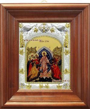 Воскресение Христово (Сошествие во ад), икона в ризе, артикул 41638 - вид в киоте