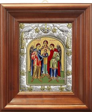 Архангелы Михаил, Гавриил и Рафаил, икона в ризе, артикул 41158 - вид в киоте