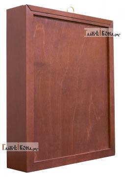 Архангелы Михаил, Гавриил и Рафаил, икона в ризе, артикул 41158 - вид киота сбоку