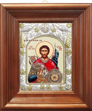 Александр Невский, икона в ризе, артикул 41447 - вид в киоте