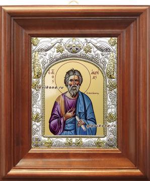 Апостол Андрей, икона в ризе, артикул 41435 - вид в киоте