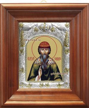 Святой Вадим, икона в ризе, артикул 41926 - вид в киоте