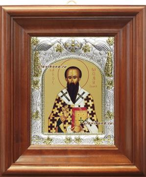 Василий Великий, икона в ризе, артикул 41749 - вид в киоте