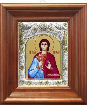 Святой Виталий, икона в ризе, артикул 41927 - вид в киоте