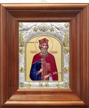 Князь Владимир, икона в ризе, артикул 41408 - вид в киоте