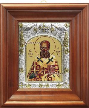 Григорий Богослов, икона в ризе, артикул 41736 - вид в киоте