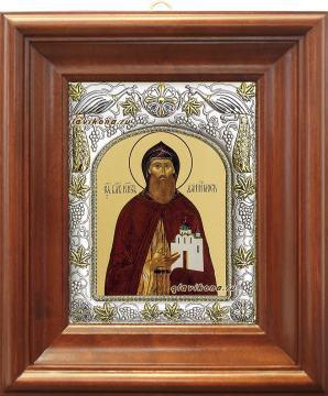 Даниил Московский, икона в ризе, артикул 41412 - вид в киоте