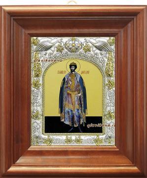 Димитрий Донской, икона в ризе, артикул 41413 - вид в киоте