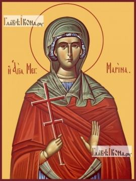 Марина великомученица, печатная на дереве икона