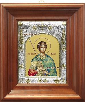 Димитрий Солунский, икона в ризе, артикул 41901 - вид в киоте