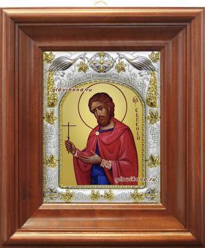 Евгений Севастийский, икона в ризе, артикул 41945 - вид в киоте