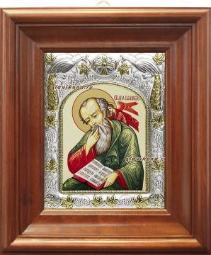 Иоанн Богослов (с Ангелом на плече), икона в ризе, артикул 41456 - вид в киоте