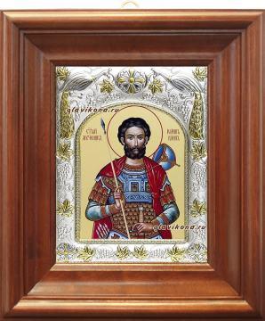 Иоанн Воин, икона в ризе, артикул 41543 - вид в киоте