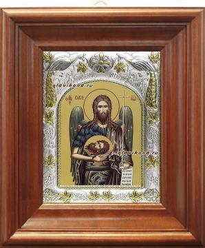 Иоанн Предтеча (поясной), икона в ризе, артикул 41404 - вид в киоте