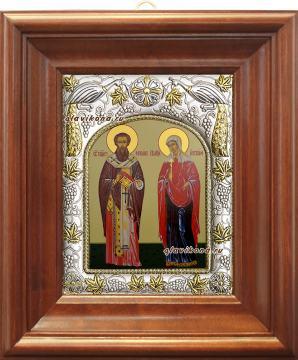 Киприан и Иустина, икона в ризе, артикул 41509 - вид в киоте
