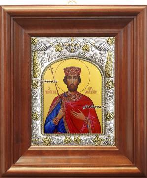 Царь Константин, икона в ризе, артикул 41003 - вид в киоте