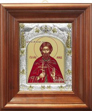 Мученик Леонид, икона в ризе, артикул 41518 - вид в киоте