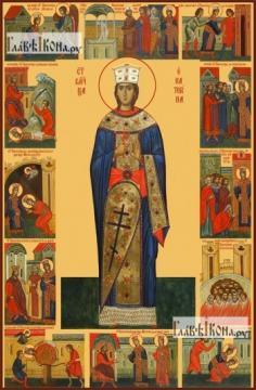 Екатерина великомученица (с житием), икона на дереве печатная