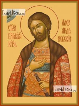 Александр Невский (полубоком), икона печатная на доске