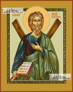 Андрей (с крестом), икона на дереве печатная