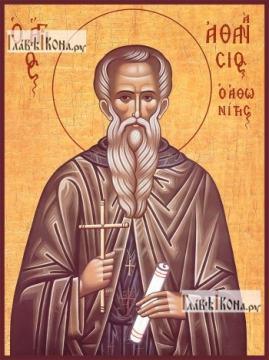 Афанасий Афонский, икона на дереве печатная
