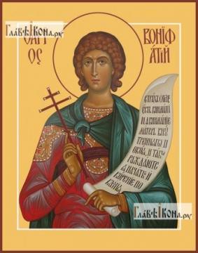 Вонифатий мученик (со свитком), икона печатная