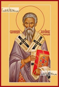 Геннадий Новгородский, икона на дереве печатная