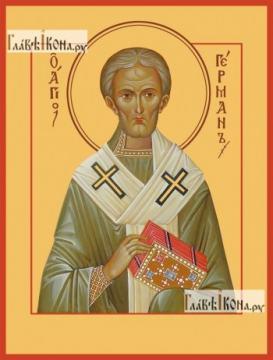 Герман Константинопольский, икона на дереве печатная