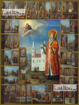 Димитрий Угличский (с житьем), икона на дереве печатная