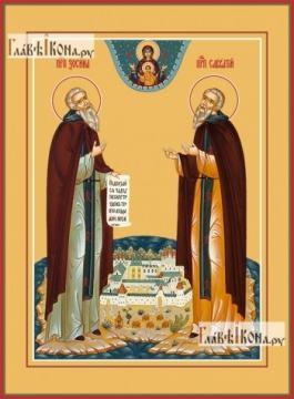 Зосима и Савватий Соловецкие (на острове), икона печатная