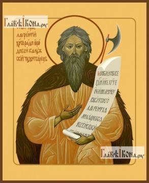 Лаврентий, Калужский чудотворец, печатная на дереве икона