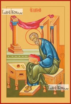 Матфей апостол, евангелист, печатная на дереве икона