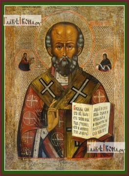 Николай Чудотворец, копия старинной, печатная на дереве икона