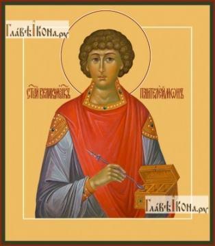 Пантелеимон великомученик Целитель Врач, печатная на дереве икона