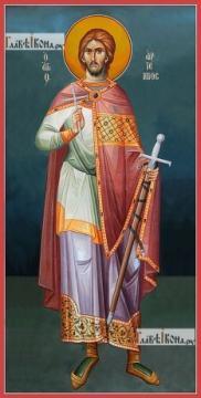 Артемий Антиохийский (старинный образ), икона на дереве печатная